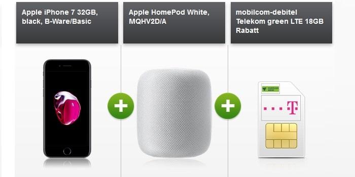 iPhone 7 BWare mit Apple HomePods zum md green LTE 18 GB im Telekom-Netz bei modeo
