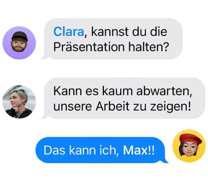 iOS 14 - Hervorhebung von Personen in Nachrichten