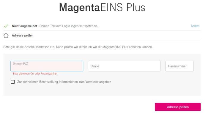 Telekom MagentaEINS Plus Adresse überprüfen lassen