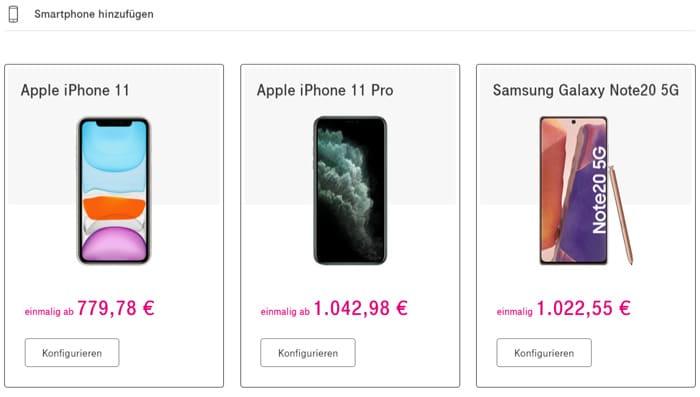 Smartphone zum Telekom MagentaEINS Plus Tarif