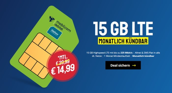 mobilcom-debitel Allnet Flat 15 GB (Telefónica-Netz) bei Sparhandy