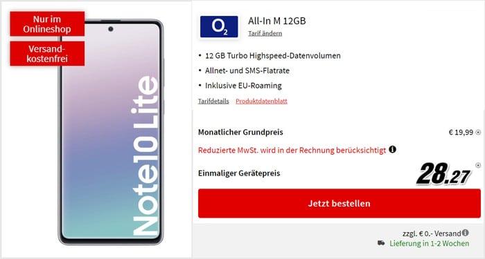 Samsung Galaxy Note 10 Lite + o2 Blue All-in M bei MediaMarkt