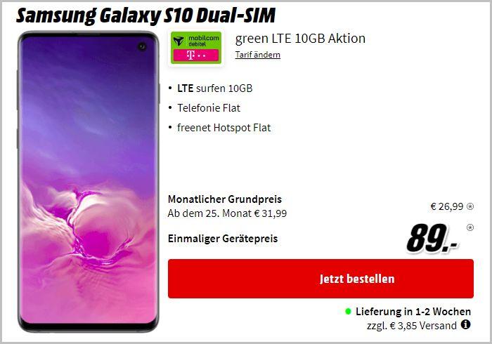 Samsung Galaxy S10 + mobilcom-debitel green LTE (Telekom-Netz) bei MediaMarkt