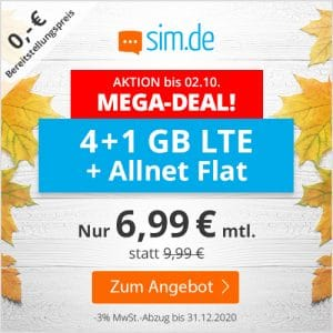 sim.de LTE All 4 GB Aktion September 2020 Thumbnail