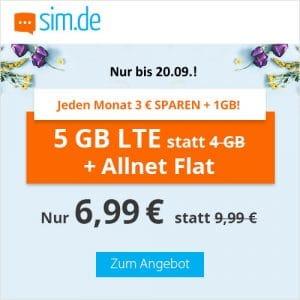 sim.de Aktion Allnet-Flat mit 5 GB