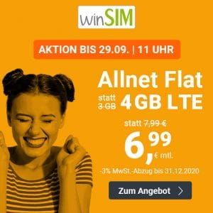 winSIM LTE All 3 GB Aktion September 2020 Thumbnail