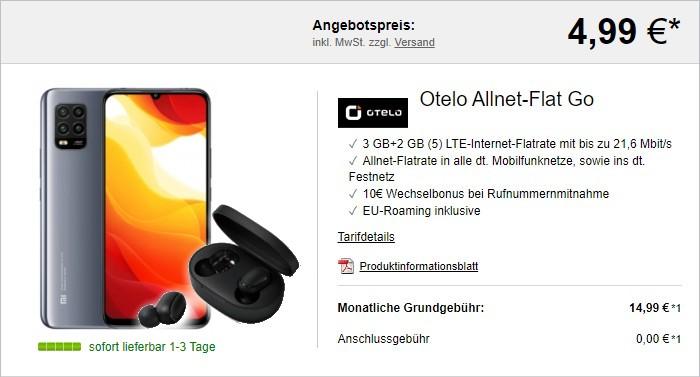 Xiaomi Mi 10 Lite + Xiaomi Mi True Wireless Earbuds Basic + otelo Allnet Flat Go bei LogiTel