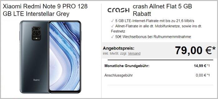 Xiaomi Redmi Note 9 Pro + crash Allnet Flat 5 GB bei LogiTel