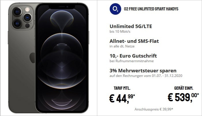 Apple Phone 12 Pro mit o2 Free Unlimited Smart 5G bei Sparhandy