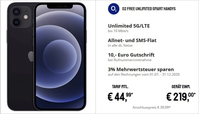 Apple Phone 12 mit o2 Free Unlimited Smart 5G bei Sparhandy
