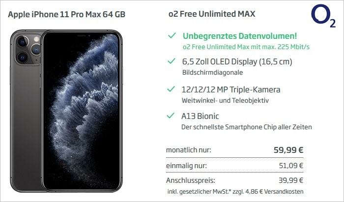 Apple iPhone 11 Pro Max mit o2 Free Unlimited Max bei Curved