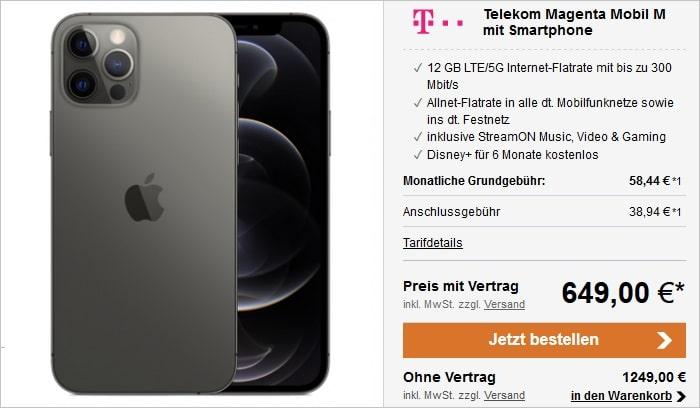 Apple iPhone 12 Pro Max mit Telekom MagentaMobil M bei LogiTel