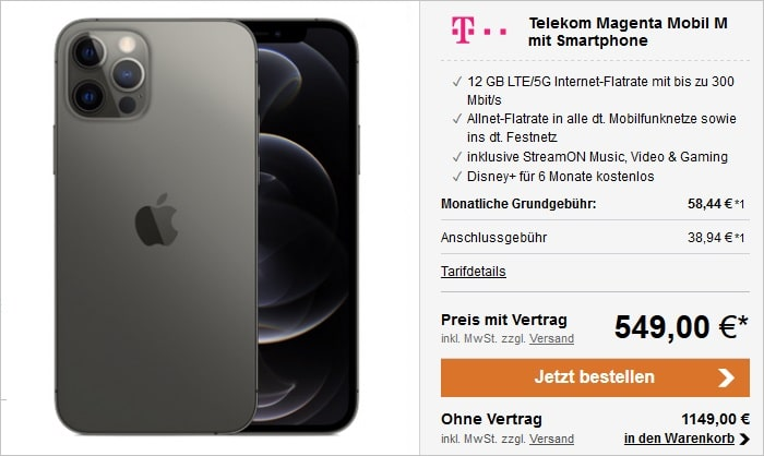 Apple iPhone 12 Pro mit Telekom MagentaMobil M bei LogiTel