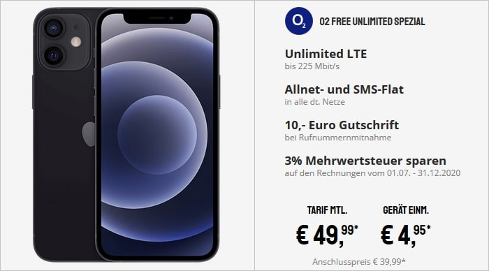 Apple iPhone 12 mini mit o2 Free Unlimited Spezial bei Sparhandy
