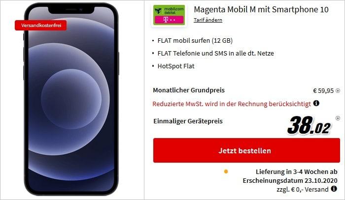 Apple iPhone 12 mit mobilcom-debitel Magenta Mobil M Telekom bei MediaMarkt