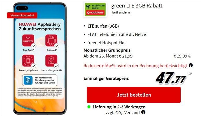 Huawei P40 mit green LTE 3 GB im Vodafone-Netz bei MediaMarkt