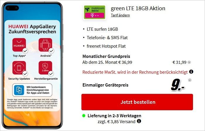 Huawei P40 mit mobilcom-debitel green LTE 18 GB im Telekom-Netz bei MediaMarkt