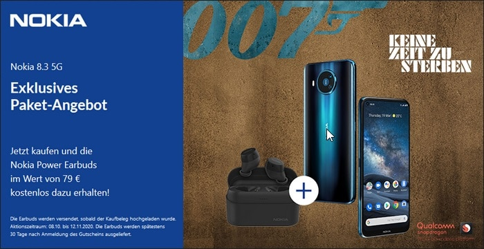 Nokia 8 3 Aktion mit In Ears Power Earbuds