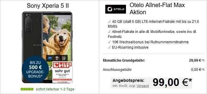 Otelo Allnet-Flat Max 40 GB Aktion oder Max Young mit Sony Xperia 5 II