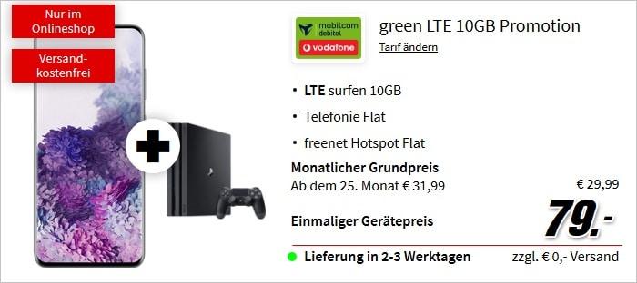 Samsung Galaxy S20 + PS4 Pro zum md green LTE 10 GB im Vodafone-Netz bei MediaMarkt