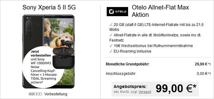 Sony Xperia 5 II 5G mit Zugabe zur otelo Allnet-Flat Max bei LogiTel