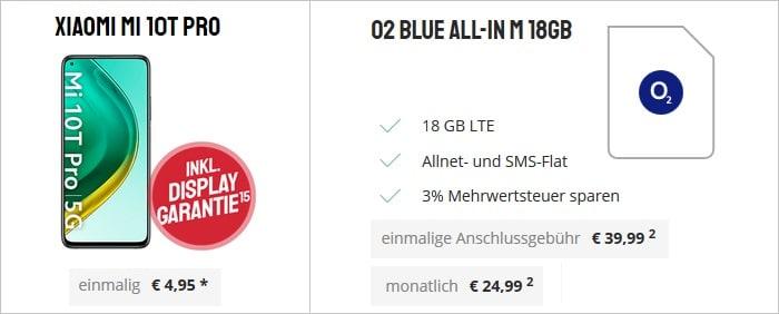 Xiaomi Mi 10T Pro mit o2 Blue All-In M 18 GB bei Sparhandy