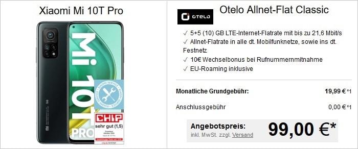 Xiaomi Mi 10T Pro zur otelo Allnet Flat Classic bei LogiTel