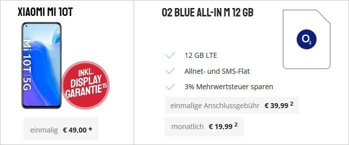 Xiaomi Mi 10T mit o2 Blue All-In M 12 GB bei Sparhandy