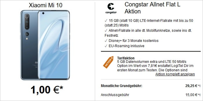 Xiaomi Mi 10 mit Congstar Allnet Flat L Aktion bei LogiTel