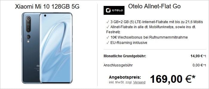 Xiaomi Mi 10 mit otelo Allnet-Flat Go und 5 GB LTE im Vodafone-Netz bei LogiTel