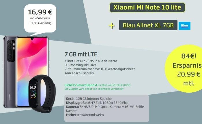 Xiaomi Mi Note 10 lite mit Fitnesstracker zum Blau Allnet XL mit 7 GB LTE bei Curved