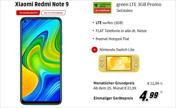 Xiaomi Redmi Note 9 mit Nintendo Switch Lite zum md green LTE 3 GB im Vodafone-Netz bei MediaMarkt
