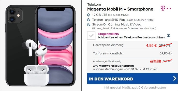 iPhone 11 + Apple AirPods Pro + Telekom MagentaMobil M bei Preisboerse24