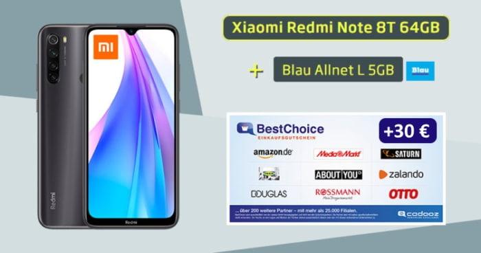 Xiaomi Redmi Note 8T mit Blau Allnet Bonus-Deal mit Gutschein (Bestpreis, Amazon)