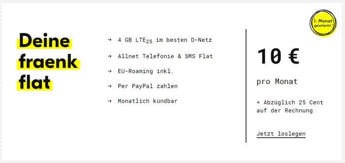 fraenk einen Monat kostenlos nutzen - 4 GB LTE + Allnet-Flat im Telekom-Netz mit 10 € Grundgebühr