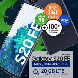 Samsung Galaxy S20 FE + 100 € Samsung Pay Startguthaben + o2 Free M bei DeinHandy