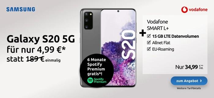 Samsung Galaxy S20 5G + Vodafone Smart L Plus bei LogiTel