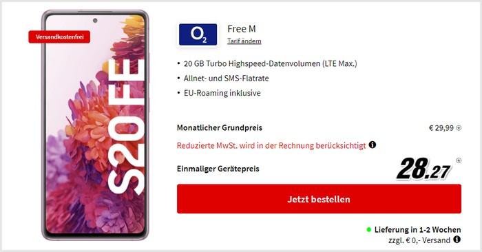 Samsung Galaxy S20 FE + o2 Free M bei MediaMarkt