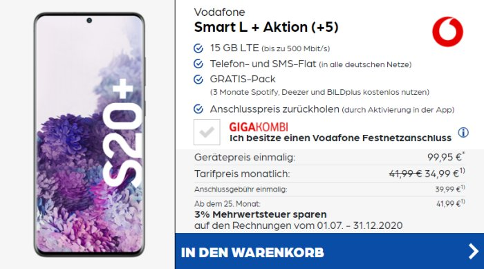 Samsung Galaxy S20 Plus + Vodafone Smart L Plus bei Preisboerse24