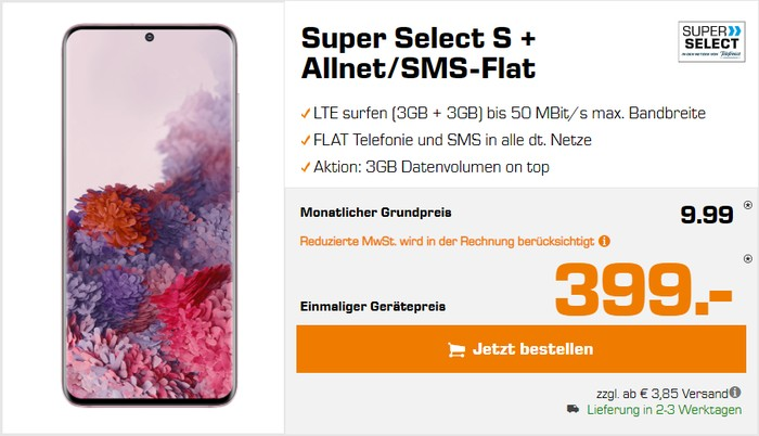 Samsung Galaxy S20 + Super Select S bei Saturn