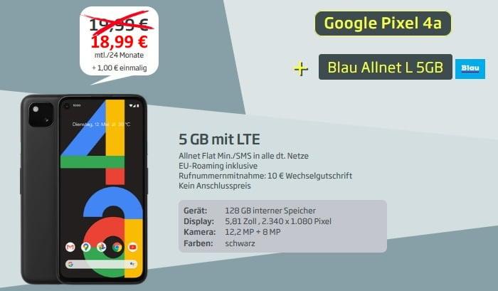 Google Pixel 4a mit Blau Allnet L 5 GB LTE bei curved