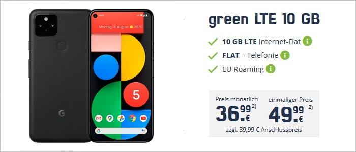 Google Pixel 5 zum mobilcom-debitel green LTE 10 GB im Telekom-Netz bei md