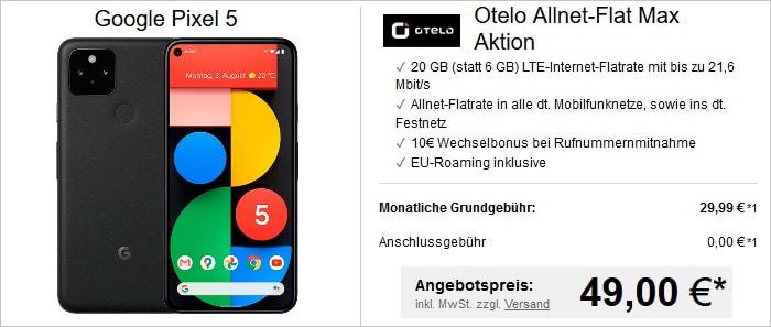 Google Pixel 5 mit otelo Allnet Flat Max und 20 GB LTE im Vodafone-Netz bei LogiTel