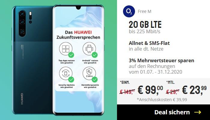 Huawei P30 Pro + o2 Free M bei Sparhandy