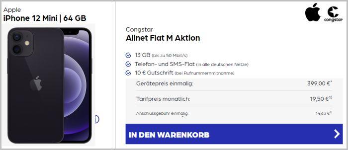 iPhone 12 mini mit congstar Allnet Flat bei Preisbörse24