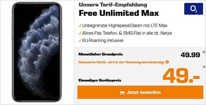iPhone 11 Pro mit o2 Free Unlimited Max bei Saturn