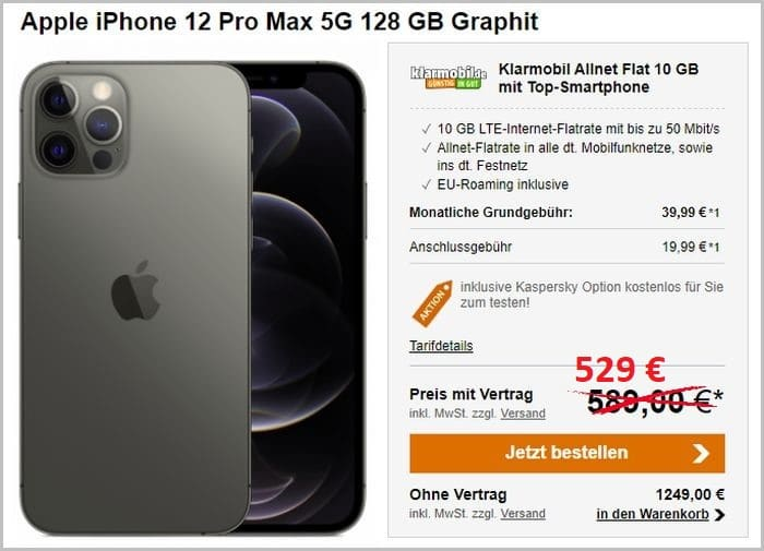 iPhone 12 Pro Max mit Klarmobil Allnet Flat 10 GB