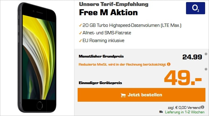 iPhone SE 2020 mit o2 Free M bei Saturn