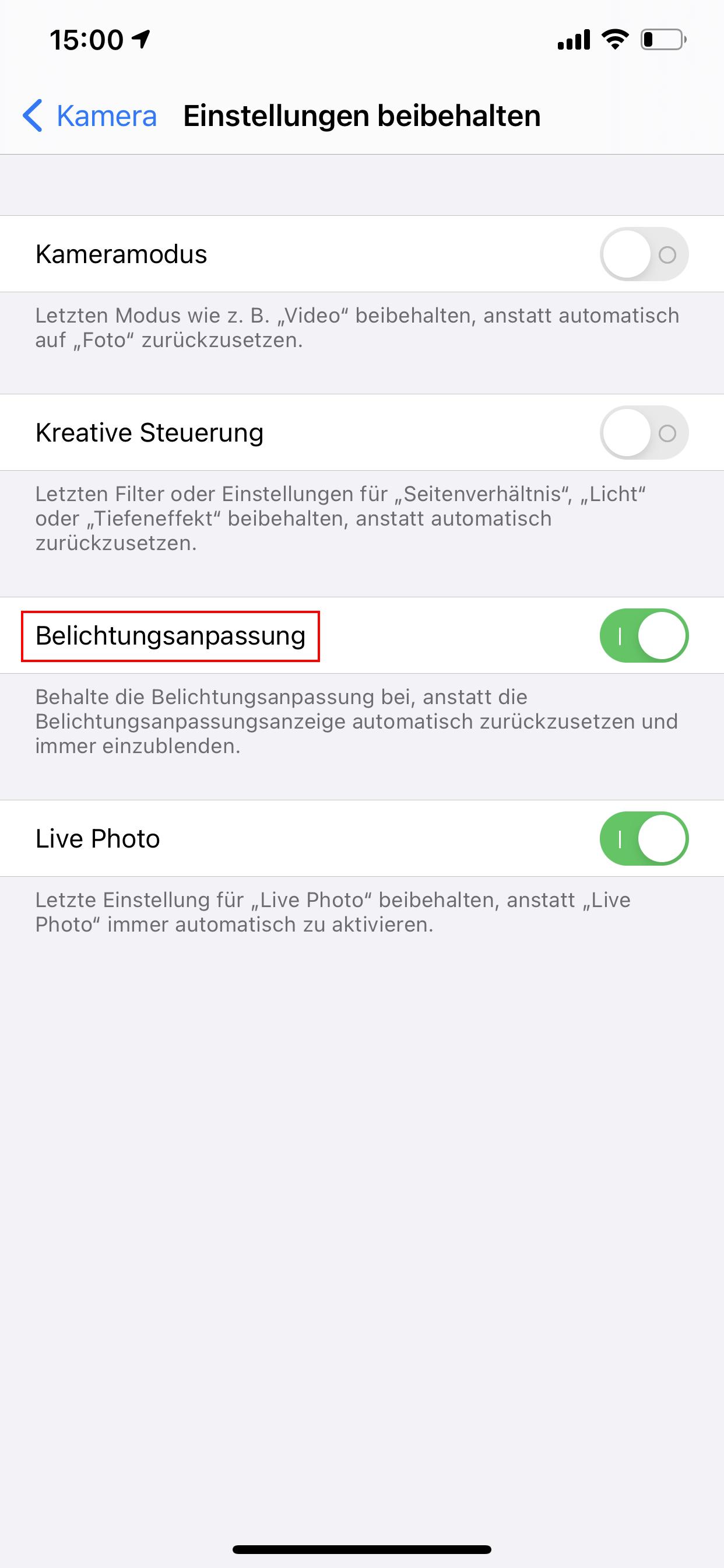 iOS 14 - Belichtungsanpassung beibehalten