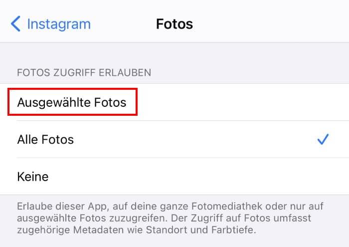 iOS 14 - Zugriff auf Fotos gewähren